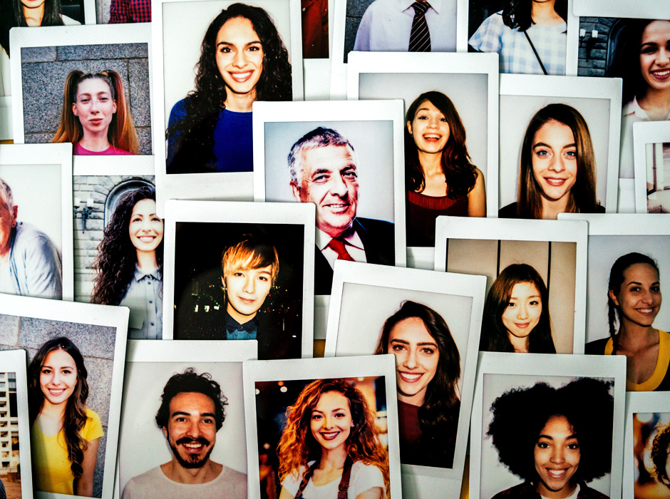 Collage Of Polaroid Portraits Showing Consumers Of Different Backgrounds