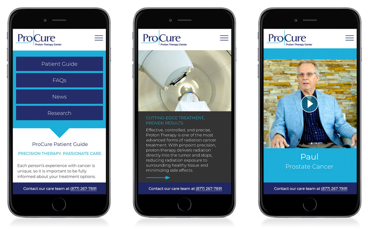 Three Phones Showing ProCure Webpages Optimized For Mobile Interfaces
