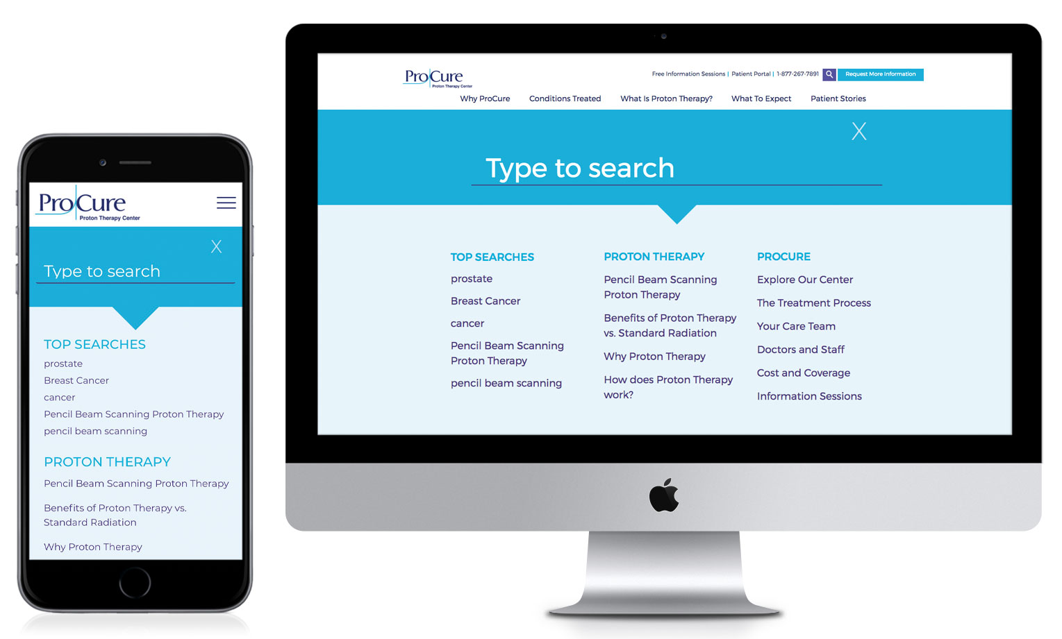 Desktop And Mobile Interfaces Showing Optimized Search Feature Of ProCure Website