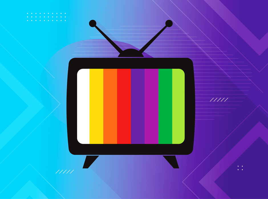 Television Icon Displaying SMPTE Color Bars