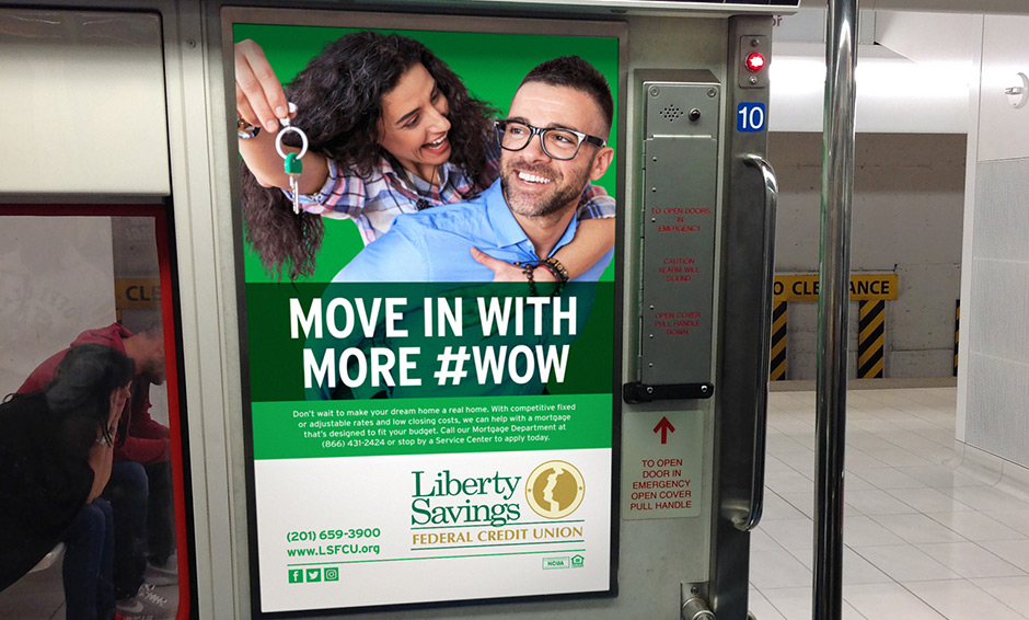 Couple with new house keys subway advertisement