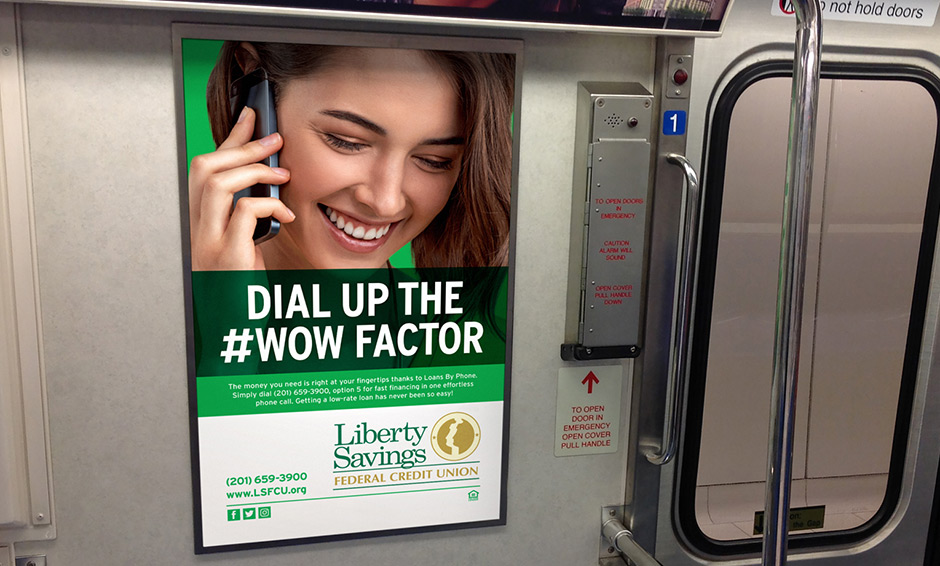 Girl talking on cell phone subway advertisement