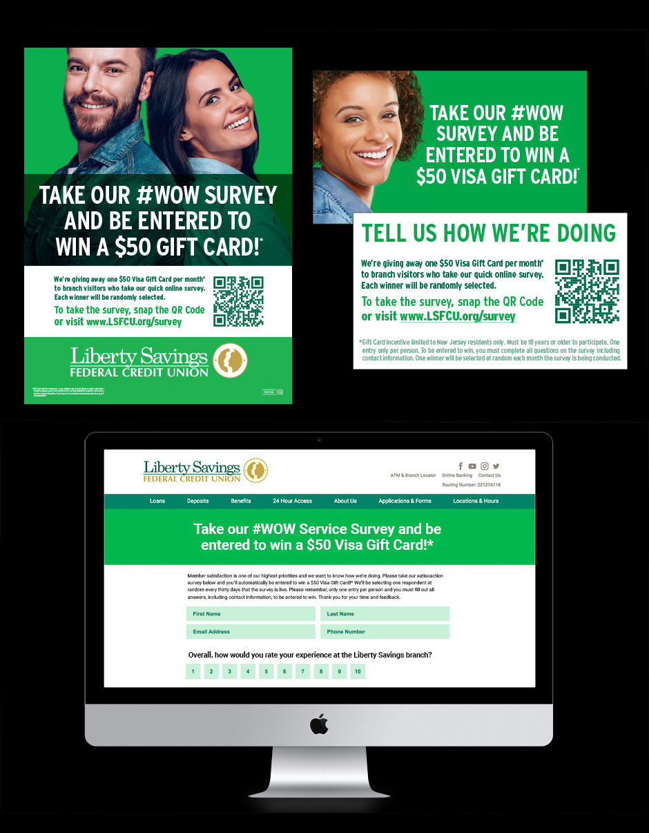 Printed and digital survey materials for Liberty Savings Federal Credit Union