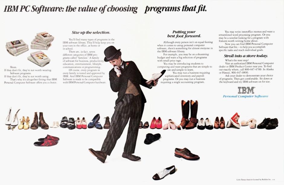 Vintage IBM Computer Advertisement Featuring Charlie Chaplin Lookalike