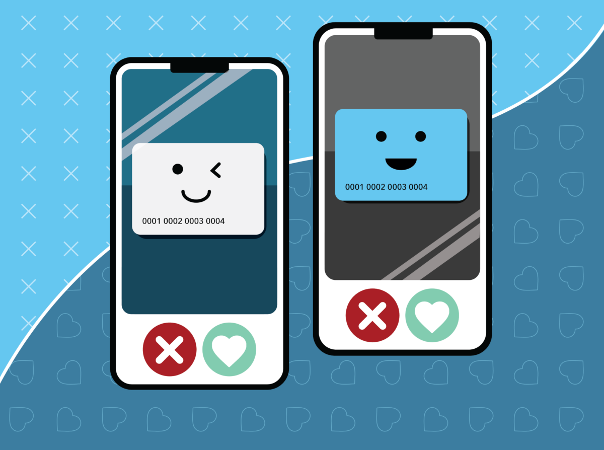 Cartoon Mobile Phones With Smiling Credit Card Icons